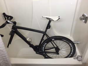 The hotel showers served as bike wash stations. After Sunday's storms it was hard to see what color each bike was.